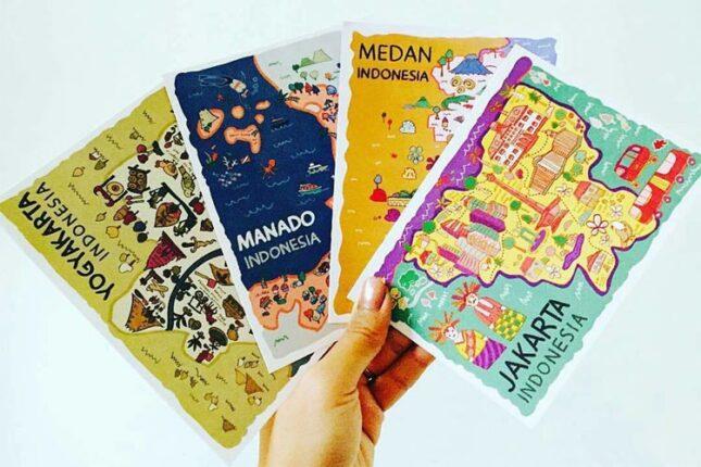 Oleh-oleh khas Jakarta : Postcard cantik berbagai kota di Indonesia