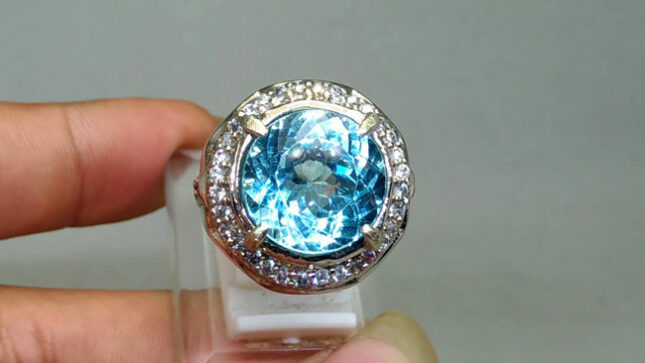 Batu cincin natural blue topaz